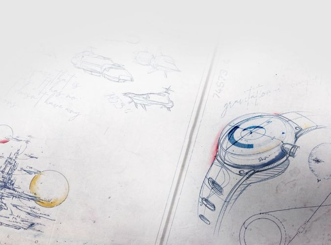 The image shows a half-finished asset, which pictures some spaceships, a watch, a spaceport surrounded by planets, and some text.