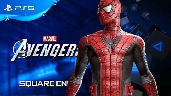 Spider-Man is in front of a Marvel's Avengers logo