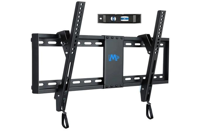 best TV mount, product image of a black wall mount, with a spirit level.