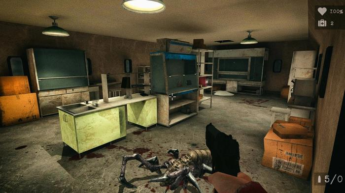Screenshot from Antarctica, showing the first-person protagonist killing a spider-type creature in a bunker