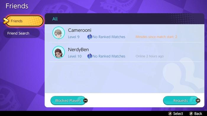 The Friends list in Pokémon Unite where you can send and accept friend requests.