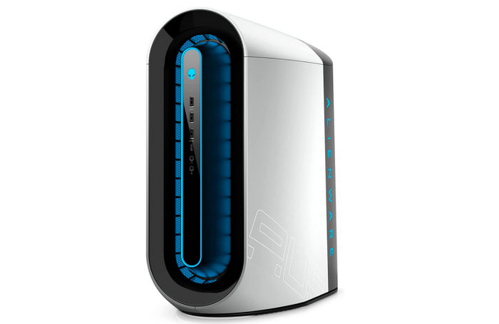 Best Gaming PC Alienware, product image of silver gaming PC with blue lighting