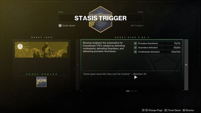 The first part of the Destiny 2 Cryothesia 77k catalyst mission.