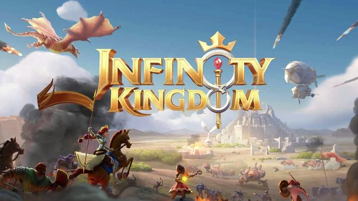 The title screen for Infinity Kingdom showing an army charging at a fortress.