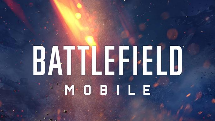 The Battlefield Mobile logo on a flaming backdrop.