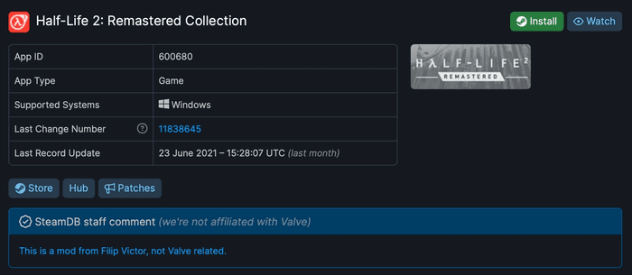 Steam Database page for Half-Life 2: Remastered Collection.