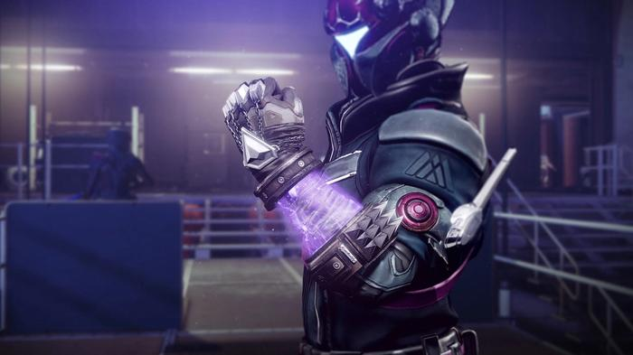 Image from Destiny 2 showing the Nothing Manacles exotic armour.