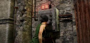 Dead by Daylight's Nea Karlsson powering an exit gate.
