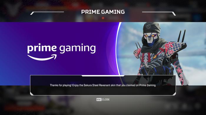Apex Legends Prime Gaming claim screen