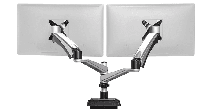 best dual monitor arm, product image of a silver dual monitor arm