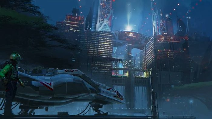 Concept artwork for Starfield. There is a person who looks like they just parked a space ship.