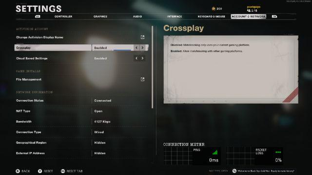 Black Ops Cold War Crossplay Menu