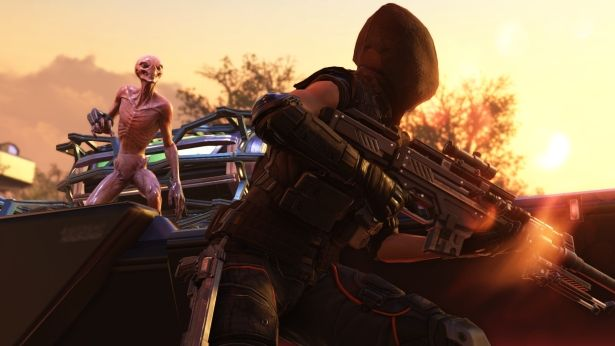 A sniper leaning out of cover to shoot an alien in the XCOM 2 Collection