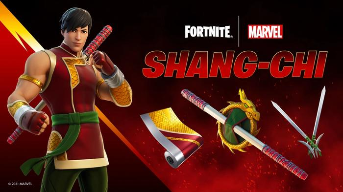 This image displays the contents of the Shang-Chi cosmetic bundle in Fortnite.