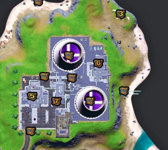 Location of all the chests at Steamy Stacks in Fortnite (Image via Fortnite.gg)