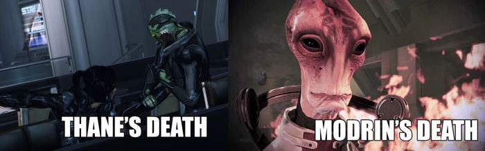 Two characters from Mass Effect are about to die. Thane on the left is stabbed by a ninja, while Mordin on the right will burn to death in an explosion.