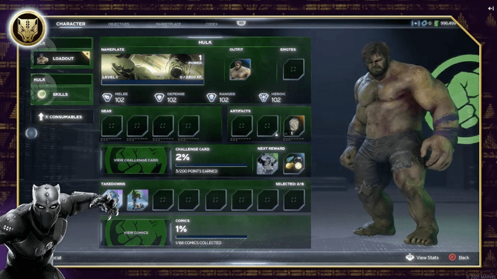 Screenshot showing the Hulk's inventory and consumables in the new UI format of Marvel's Avengers coming in the War for Wakanda DLC.
