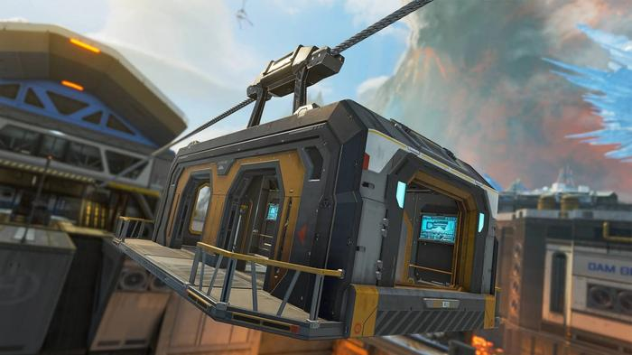 A gondola being pulled over lava in Apex Legends.