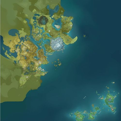 Image showing where the Inazuma region sits in relation to the rest of the Genshin Impact map