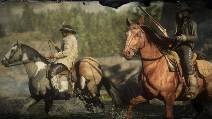 Red Dead Online Farm Gold cowboys on horses crossing river