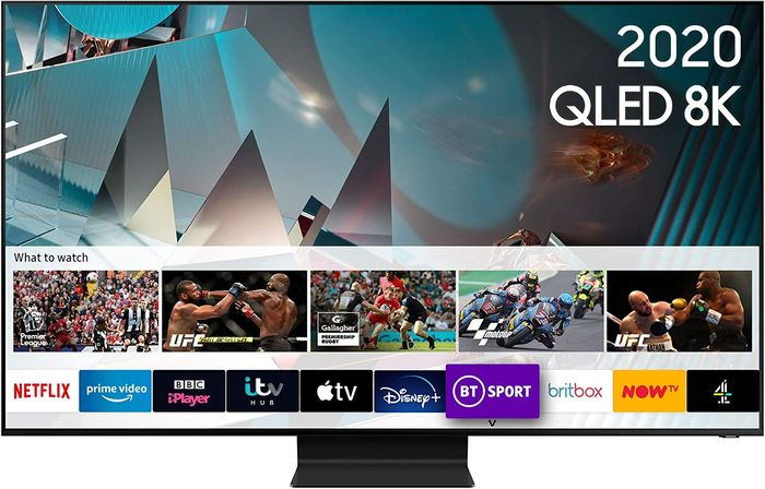 Image of Samsung Q800TV displaying triangles below an overlay with various streaming applications, with a focus on upcoming sporting events