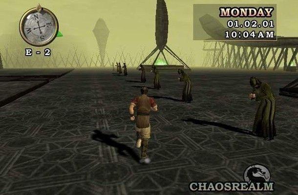 "Mortal Kombat: Deception's story mode. The main character runs through the ""Chaosrealm."""
