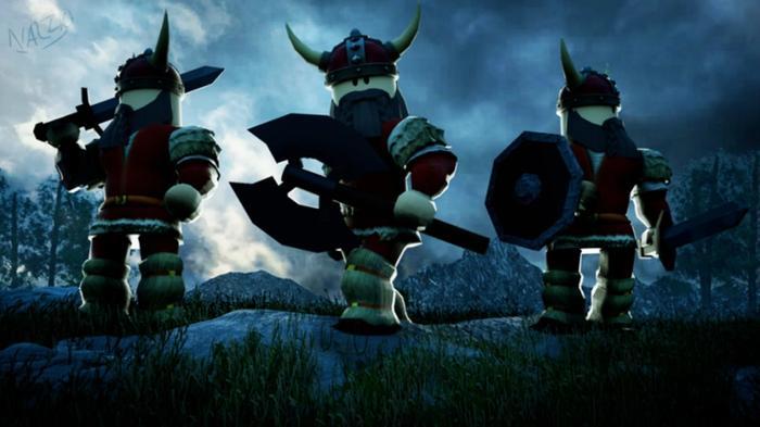 Three Vikings set against a grey, stormy sky.