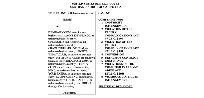 A lawsuit screenshot for a jury trial. Triller is the accuser, there are 12 websites and 100 individuals as defendants.
