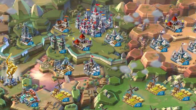 Screenshot from Lords Mobile, showing a battlefield with medieval fighters