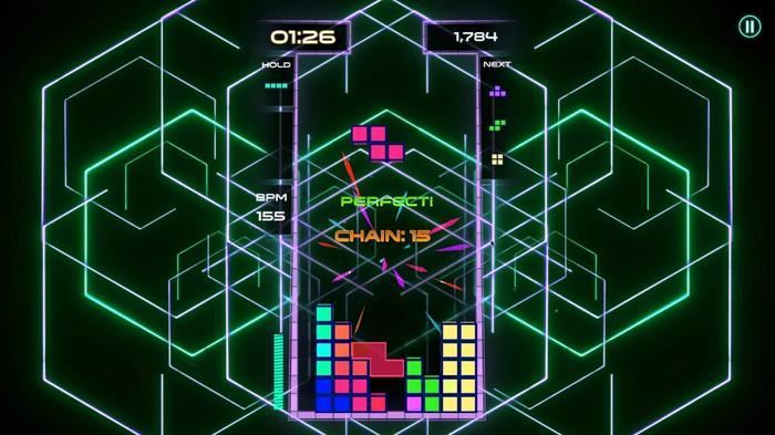 A neon-lit Tetris level