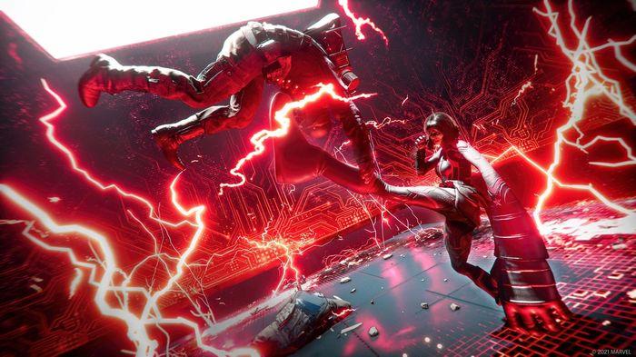Promo Image for Marvel's Avengers Red Room Takeover. Ms. Marvel kicks a figure