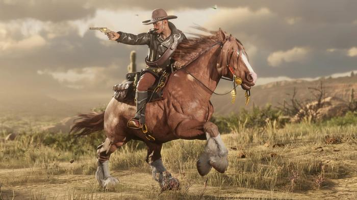Is Red Dead Online free - gunslinger rides on horse while shooting