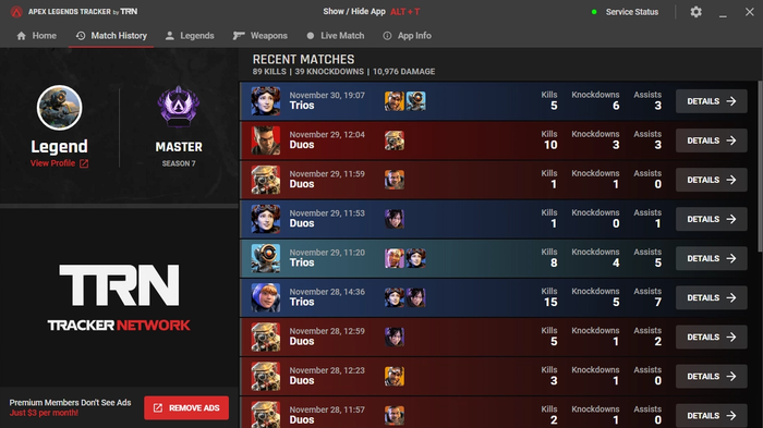 TRN Apex Legends screenshot