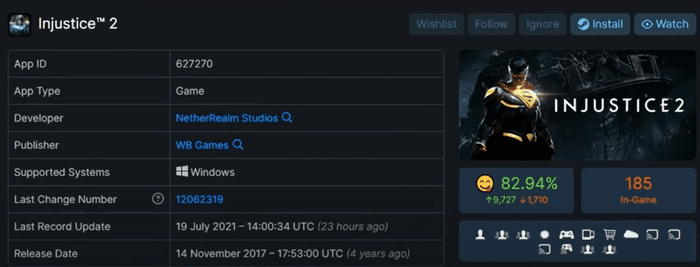 A screenshot of the Injustice 2 updates. The most recent update was on July 19th, 2021.