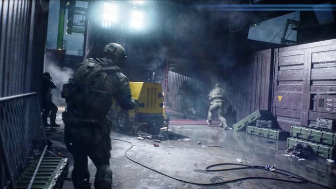 Battlefield 2042 game modes header - Battlefield soldiers advance through a darkened cargo dock.