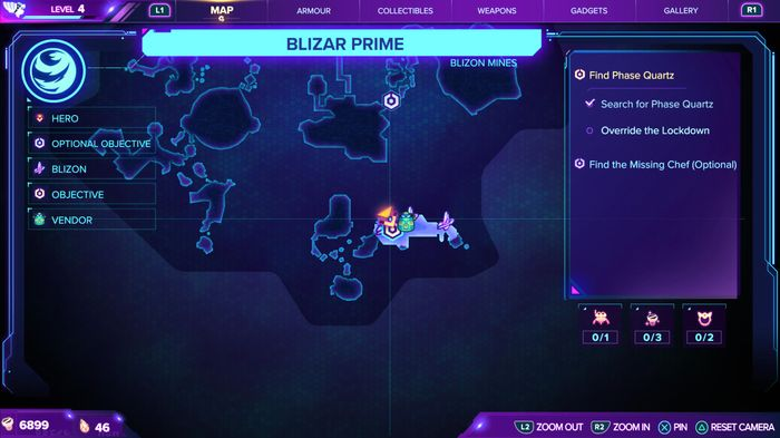 A map of Blizar Prime, showing the location of a CraiggerBear in the area