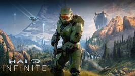Master Chief poses in front of a battlefield in Halo Infinite