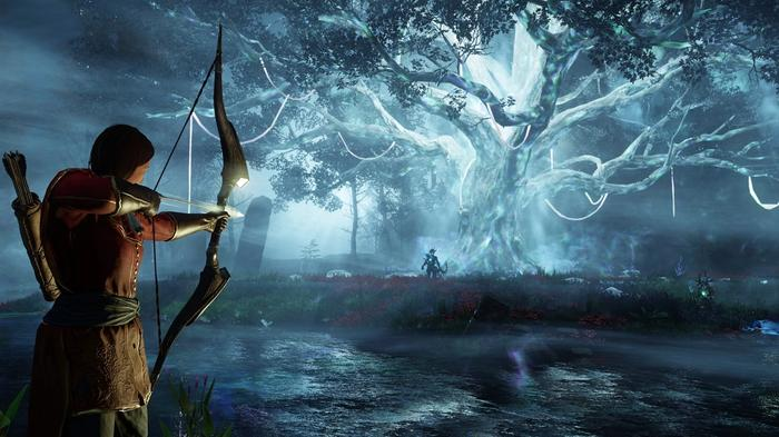 A player wields a bow in New World