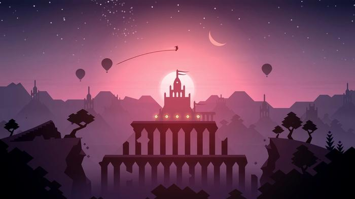 A screenshot of Alto's Odyssey with a landscape and a temple in the background