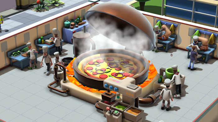 A screenshot of Two Point Campus. It shows a pizza taking up a room.
