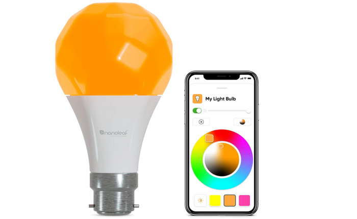 best smart light, product image of an orange smart bulb