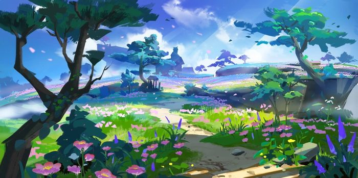 Image depicting concept art for Genshin Impact's Inazuma region, specifically, cherry blossoms and open plains.