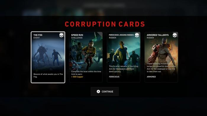 Back 4 Blood Corruption cards laid out by game director