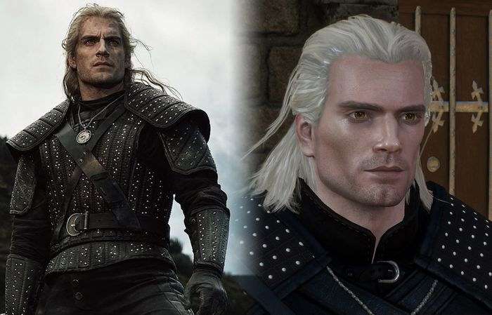 The beautiful and handsome Henry Cavill next to a mod that accurately represents his face in The Witcher 3.