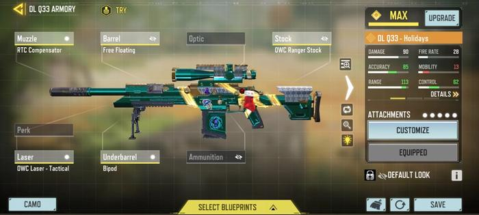 This image features a gunsmith build for the DL-Q33 in COD: Mobile.