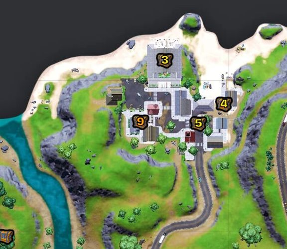 Chest locations at Craggy Cliffs (Image via Fortnite.gg)