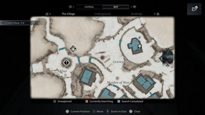 A screenshot showing the location of the Broken Slab in Resident Evil Village, used to unlock the Beneviento Treasure.