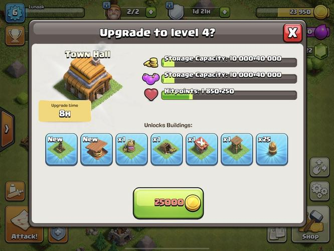 The upgrade screen for the Town Hall building in Clash of Clans.