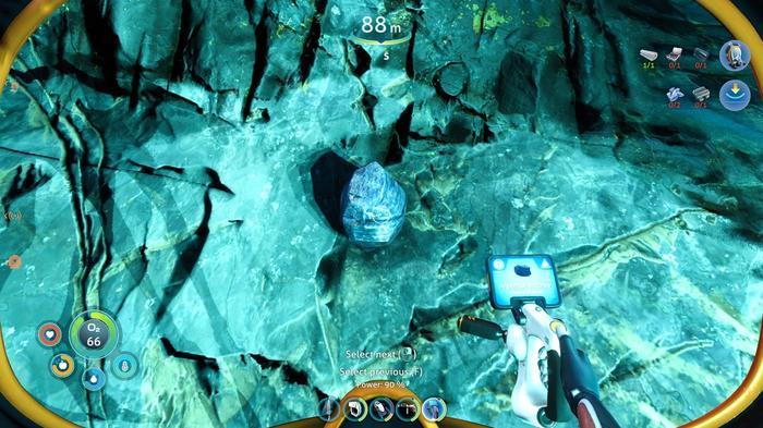 Subnautica Below Zero Mineral Detector scanning for Argentite Outcrop