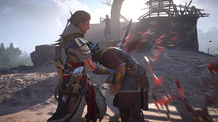 Eivor stabs a soldier with a sword in Assassins Creed Valhalla Siege of Paris DLC